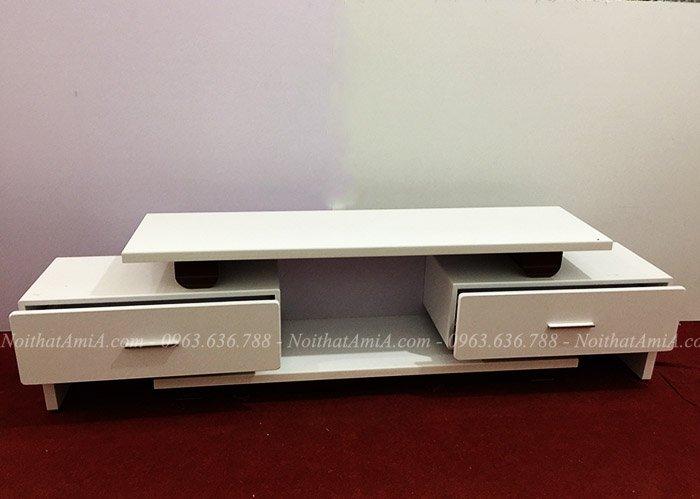 Mẫu kệ tivi màu trắng 2 ngăn kéo đẹp, tiện lợi