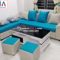 Hình ảnh mMẫu ghế sofa nỉ hình chữ L đẹp hiện đại cho phòng khách gia đình