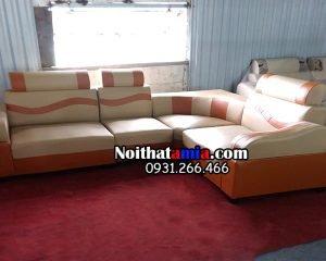 Hình ảnh ghế sofa da góc sọc cam đẹp