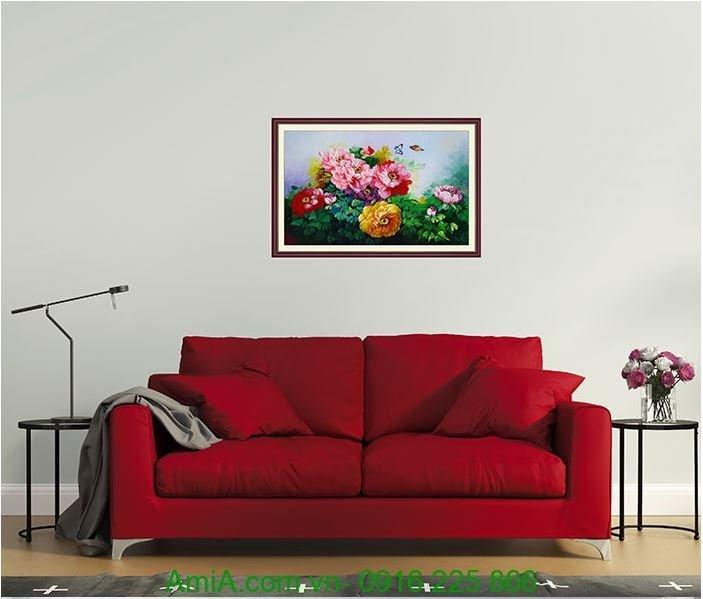 tranh ve hoa mau don son dau