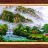 tranh vẽ thác nước thiên nhiên