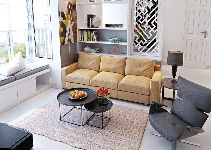 Hình ảnh cho bộ ghế sofa nhỏ xinh cho phòng khách chung cư với thiết kế dạng sofa văng