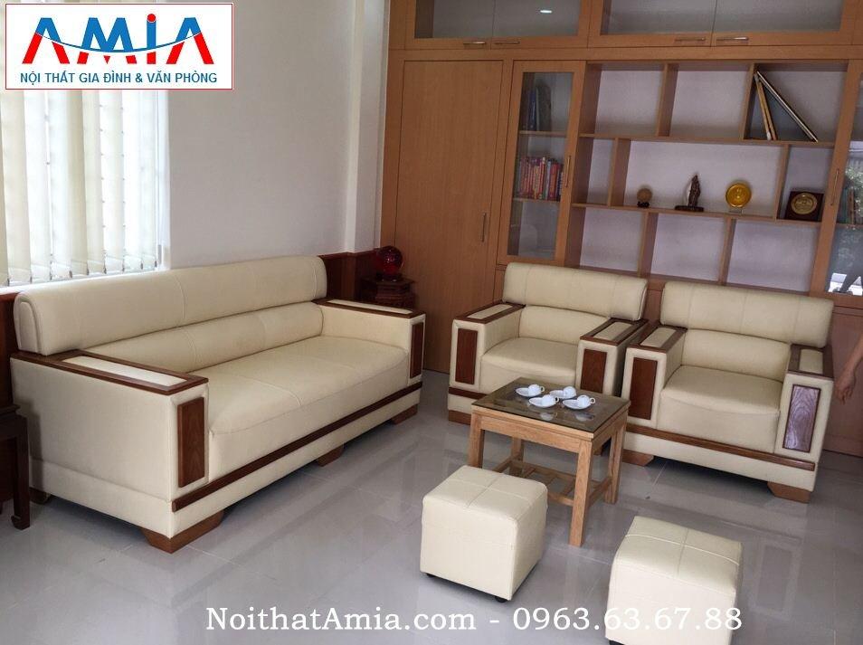 Hình ảnh sofa da phòng làm việc khung gỗ Sồi AmiA SFD085