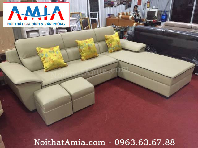 Hình ảnh cho bộ ghế sofa phòng khách nhỏ với thiết kế góc chữ L