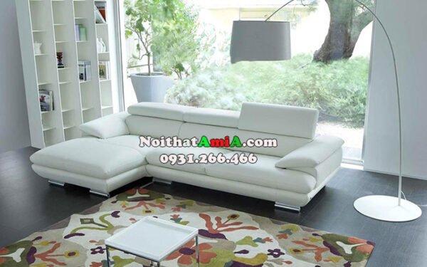 Hình ảnh Mẫu ghế sofa da phòng khách đẹp thiết kế hình chữ L hiện đại