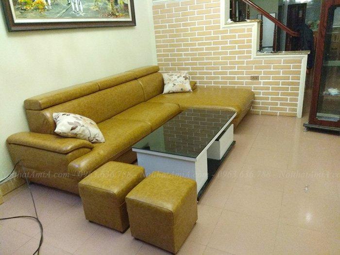 Hình ảnh Ghế sofa đẹp da chữ L hiện đại và sang trọng với gam màu độc đáo