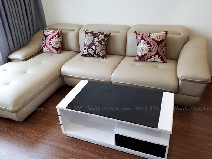 Hình ảnh Mẫu ghế sofa đẹp da chữ L kết hợp bàn trà sofa đẹp