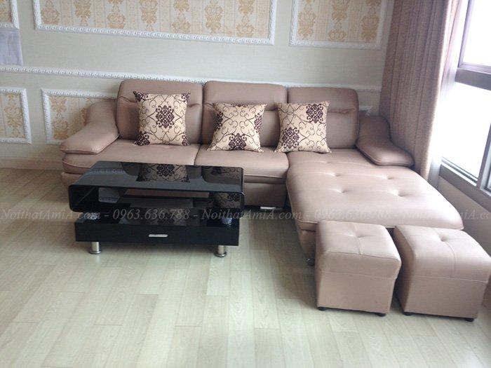 Hình ảnh Mẫu sofa đẹp da chữ L thật hiện đại và sang trọng