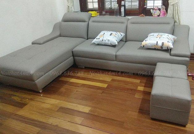 Hình ảnh Ghế sofa da phòng khách đẹp hiện đại, xinh xắn