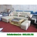 Hình ảnh mẫu ghế sofa da góc chữ L đẹp hiện đại với tay ốp gỗ Sồi độc đáo