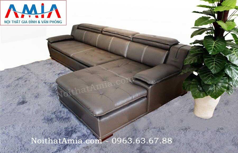 Hình ảnh mẫu ghế sofa da góc chữ L màu đen đẹp hiện đại và sang trọng