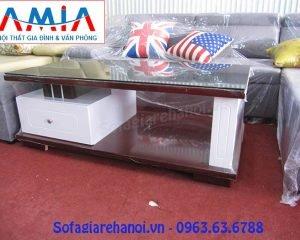 Hình ảnh mẫu bàn trà sofa gỗ kính đẹp hiện đại với thiết kế đơn giản, tinh tế