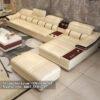 Hình ảnh bộ ghế sofa da chữ L đẹp hiện đại và sang trọng với chất liệu da đẹp