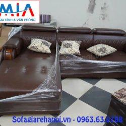 Hình ảnh bộ ghế sofa da góc chữ L đẹp hiện đại AmiA SFD130
