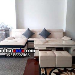 Hình ảnh bộ sofa da góc chữ L viền trắng đẹp