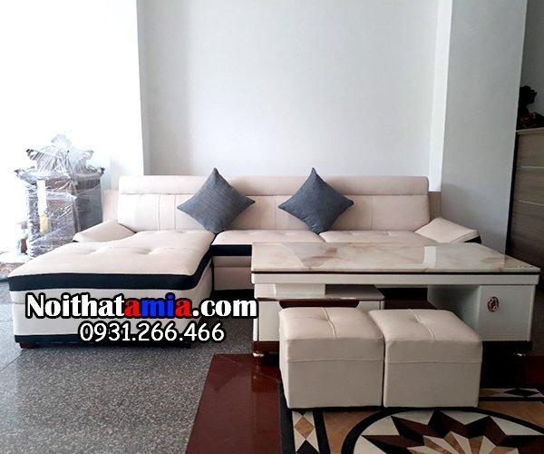 Ghế Sofa Da Góc Chữ L Amia Sfd131 Màu Trắng Sữa Viền Nâu đen