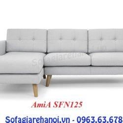 Hình ảnh ghế sofa nỉ chữ L đẹp hiện đại với thiết kế rút khuy nhẹ nhàng, tinh tế