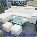 Hình ảnh ghế sofa da góc chữ L màu trắng đẹp hiện đại và sang trọng