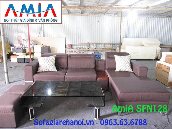 Hình ảnh mẫu ghế sofa nỉ chữ L màu nâu tím thật mới lạ và độc đáo