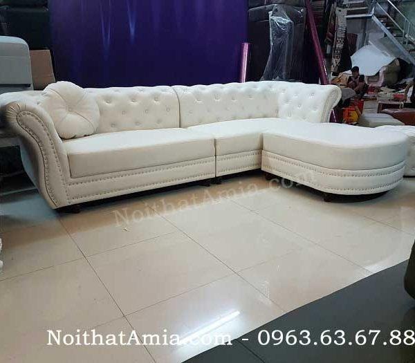 Hình ảnh cho mẫu ghế sofa văng đẹp chất liệu da hiện đại kết hợp đính đinh đồng
