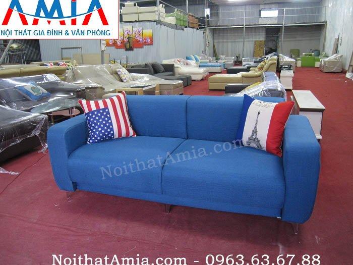 Hình ảnh cho bộ ghế sofa văng nỉ 2 chỗ màu xanh coban đẹp hiện đại cho căn phòng khách gia đình