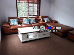 Hình ảnh bộ ghế sofa da phòng khách lớn