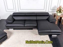 Ảnh bộ ghế sofa da góc chữ L màu đen SFD122