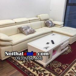 Hình ảnh bộ sofa da góc giá rẻ màu trắng