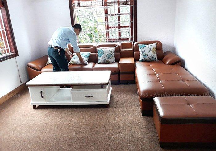 Hình ảnh Mẫu ghế sofa đẹp da chữ L hiện đại, sang trọng và đẳng cấp