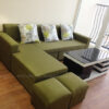 Hình ảnh Mẫu ghế sofa đẹp ni chữ L với gam màu xanh rêu thật độc đáo và mới lạ