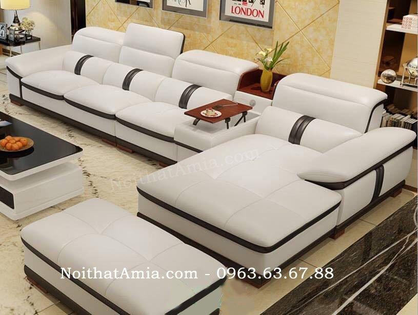 Hình ảnh cho bộ ghế sofa da phòng khách lớn thật hiện đại, sang trọng và đẳng cấp