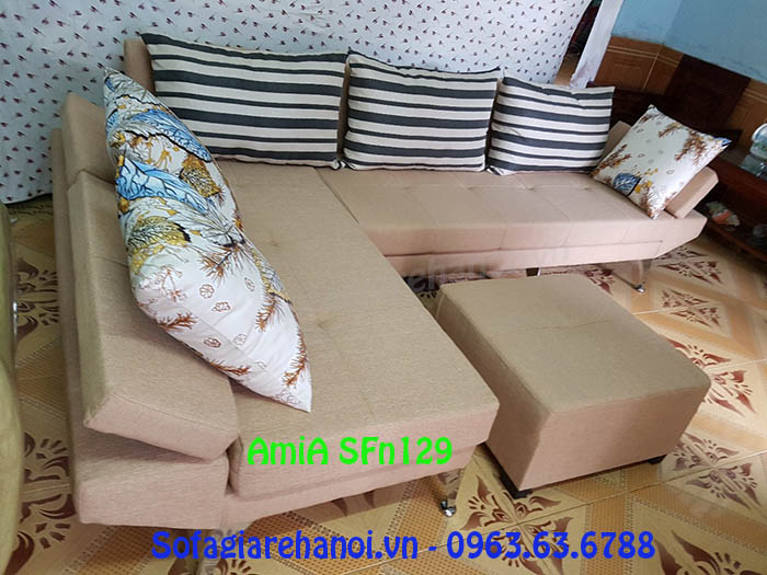 Hình ảnh bộ ghế sofa nỉ góc chữ L đẹp hiện đại với thiết kế tựa lưng gật gù