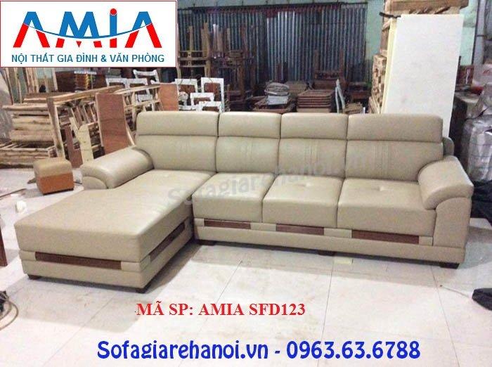 Hình ảnh mẫu sản phẩm ghế sofa da góc chữ L thiết kế rút khuy nhẹ nhàng