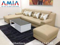 Hình ảnh bộ ghế sofa da góc chữ L màu kem đẹp hiện đại và sang trọng