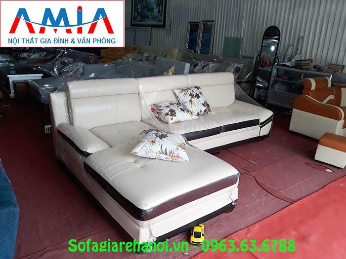 Hình ảnh sofa da góc chữ L màu trắng đẹp hiện đại AmiA SFD131 cho căn phòng đẹp