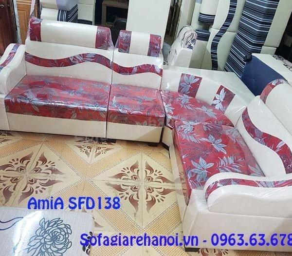 Hình ảnh cho mẫu ghế sofa da góc giá rẻ thiết kế hiện đại với họa tiết hoa lá đẹp