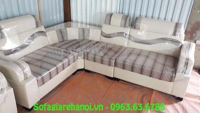 Hình ảnh mẫu ghế sofa da góc giá rẻ với chất liệu da pha nỉ hiện đại