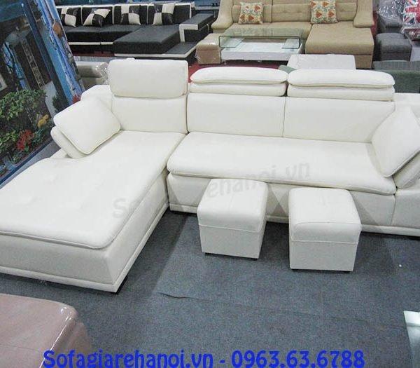 Hình ảnh mẫu ghế sofa da góc chữ L màu trắng đẹp hiện đại và sang trọng