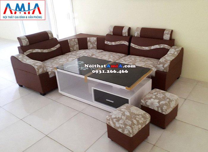 Hình ảnh Sofa phòng khách giá rẻ da pha nỉ đẹp hiện đại