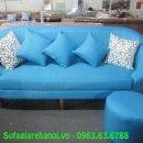 Hình ảnh mẫu ghế sofa nỉ văng màu xanh cô ban độc đáo thật hiện đại và sang trọng