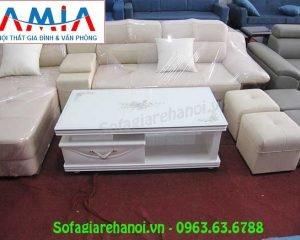 Hình ảnh mẫu bàn trà gỗ kính màu trắng đẹp hiện đại AmiA BTR158