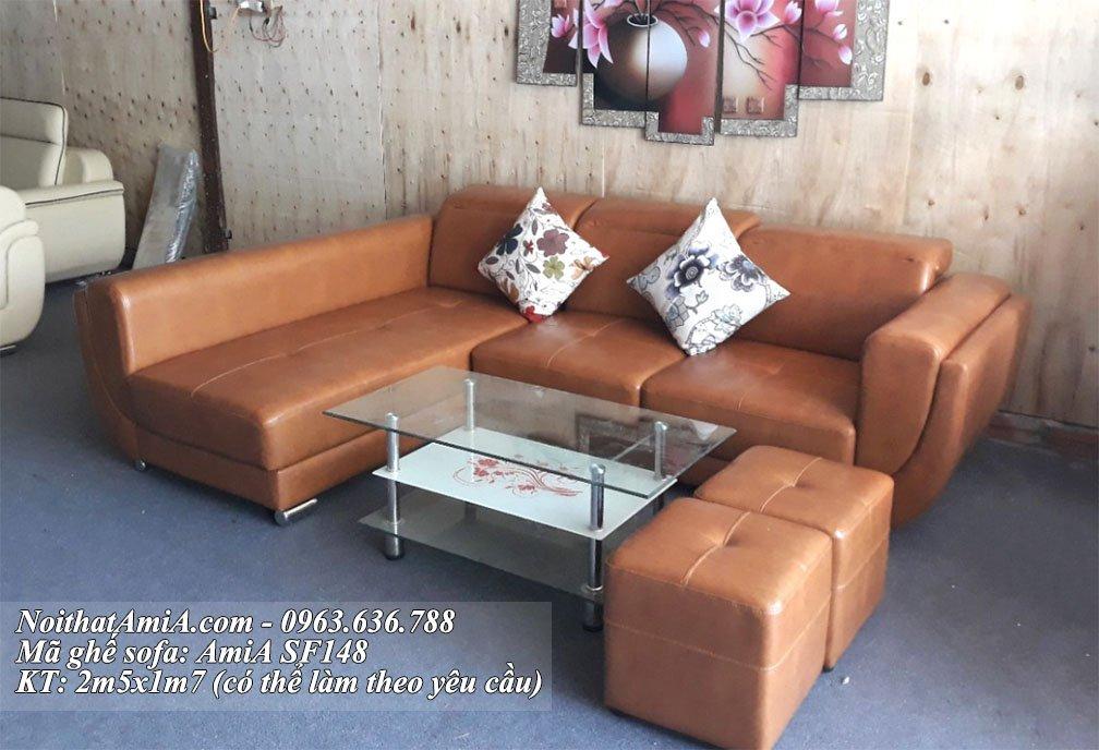 Ghe sofa da goc chu L 3 cho tai xuong noi that AmiA My dinh