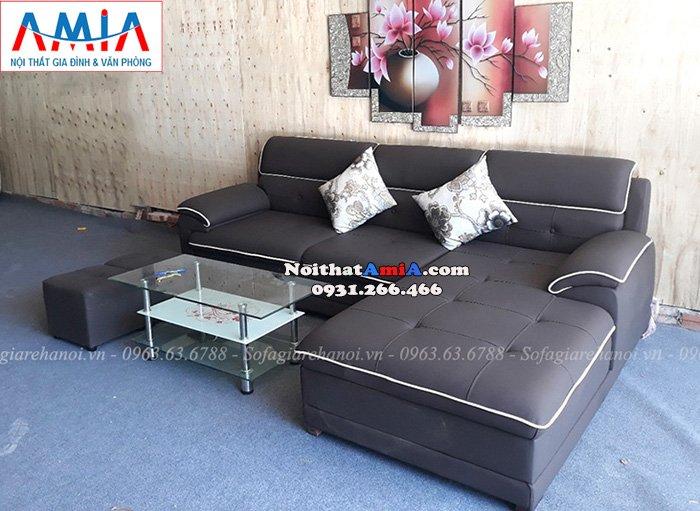 Hình ảnh Mẫu ghế sofa đẹp da chữ L thiết kế viền bao