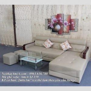 Ghe sofa chu L dep vien tay op go hien dai AmiA SF159