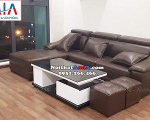 Hình ảnh ghế sofa đẹp da góc chữ L cho phòng khách nhà chung cư
