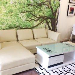 Hình ảnh Ghế sofa da góc chữ L chụp thực tế tại phòng khách nhà khách hàng