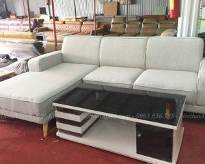Hình ảnh ghế sofa nỉ đẹp kết hợp bàn trà kính đẹp