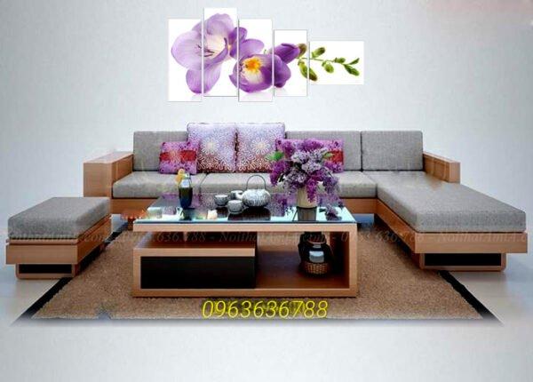 Hình ảnh ghế sofa gỗ chữ L đẹp hiện đại