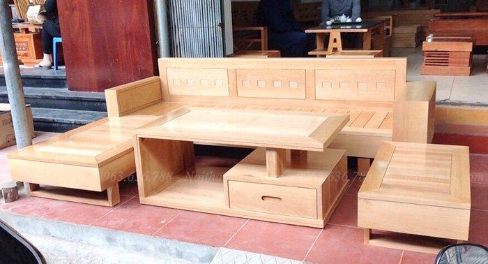 Hình ảnh Sofa chữ L gỗ đẹp hiện đại kết hợp bàn trà đẹp