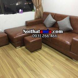 Bộ ghế sofa da góc đẹp chữ L SFD174